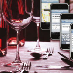 smart phones and wine glasses