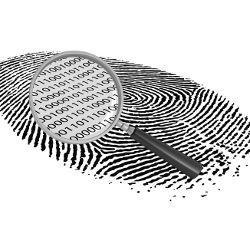 binary code in magnified fingerprint