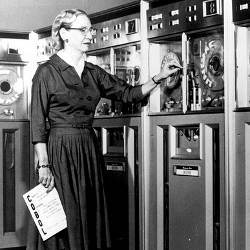 Grace Hopper with UNIVAC 1