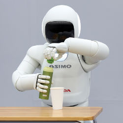 Honda's ASIMO robot with a thermos