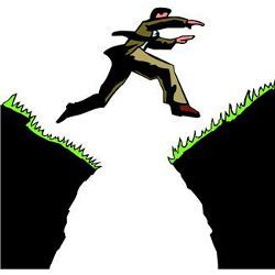 man leaping a chasm, illustration