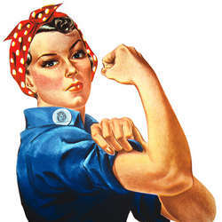 Rosie the Riveter, demonstrating the strength of working women.