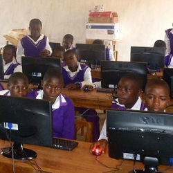 students using computers in Cameroon