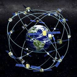 A representation of how the Global Positioning System provides planet-wide navigation data.