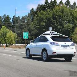 One of Google's autonomous vehicles on the road in northern California.