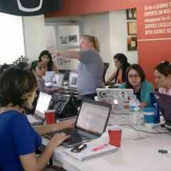 Women learning how to build a Ruby on Rails application from scratch, at a workshop in Mexico earlier this year.