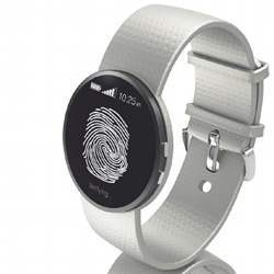 A wrist-worn biometric device.