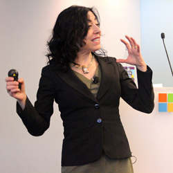 Microsoft Research New England managing director Jennifer Chayes opened the conference.