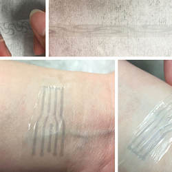 "A printed electrode pattern of the new polymer being stretched, and a transparent, stretchy ""electronic skin"" patch."