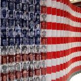 U.S. flag with immigrants' faces