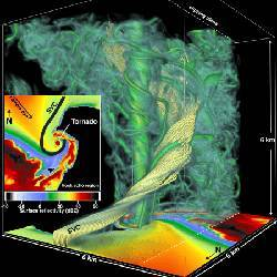 The simulation reveals several structures that make up the tornado.