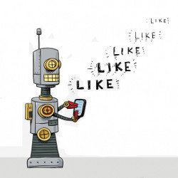 robot with phone 'like' 'like' 'like', illustration