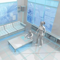 woman and boy in futuristic home