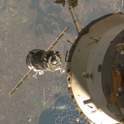 the Soyuz TMA-13 spacecraft approaches the International Space Station