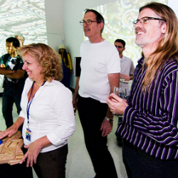 Professor Sheldon Brown (right) at Calit2's interactive museum installation