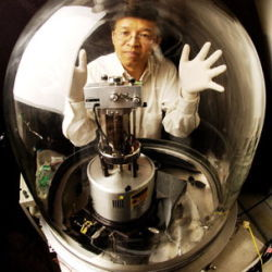 Professor Gang Chen with vacuum chamber