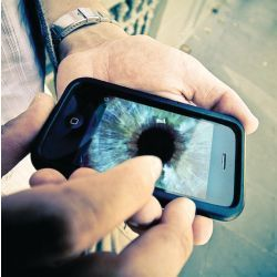 user's cellphone displays eye image