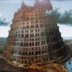 The real-time-translating Babel Fish from Douglas Adams' Hitchhikers' Guide to the Galaxy was named for the Tower of Babel, a biblical structure fractured by linguistic confusion