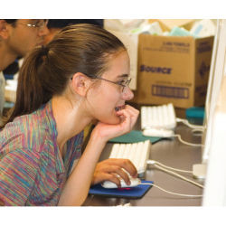 high school student at Rutgers University lab computer