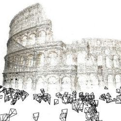 3D reconstruction of the Colosseum in Rome, built as part of the Rome in a Day project, which used 2,106 images and 819,242 points.