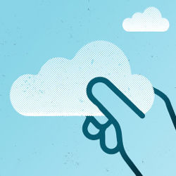 hand grasps cloud illustration