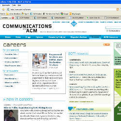 Careers page, CACM Web site