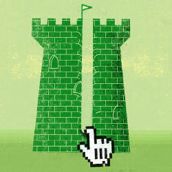 online hand scratches tower wall, illustration