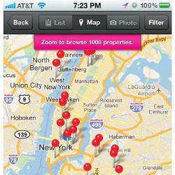 New York City geolocation map on mobile screen
