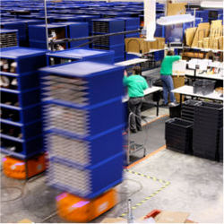Robots on warehouse floor