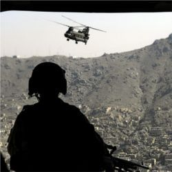 CH-47 Chinook helicopter over Kabul