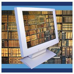 shelves of old books on computer screen, illustration