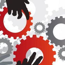 hands on cogs, illustration