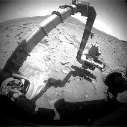 Spirit rover's arm and surroundings on Mars