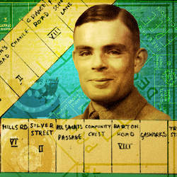 homemade Monopoly board, photo of Alan Turing