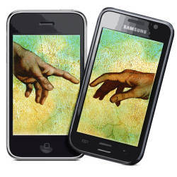 hands from Michelangelo's 'Creation' on two mobile phones