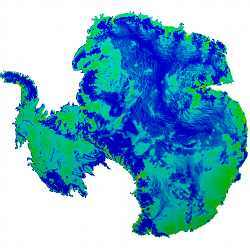 A supercomputer simulation of the Antarctic ice sheet.