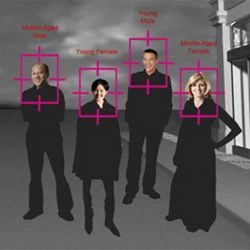 A representation of how facial-recognition technologies work.