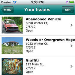 An iPhone screen lists issues reported to Pasadena's CRM system.