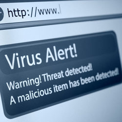 A virus alert warning on a computer screen.