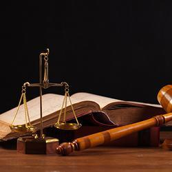 A law book, gavel, and the scales of justice.