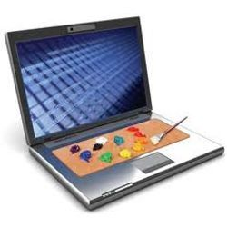 laptop with artist's palette