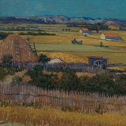 A detail of a copy of van Goghs painting The Harvest, of a landscape near Arles, France, made with a 3-D printer.