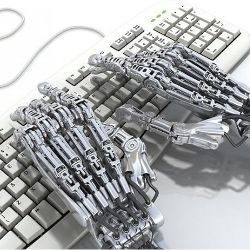 robot hands on keyboard