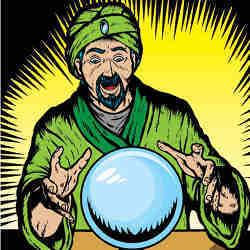 A 'mentalist' consults a crystal ball to see the future.