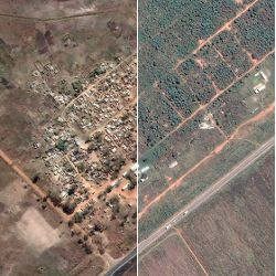 aerial before and after views of Porta Farm, Zimbabwe