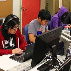 University students in a computer science lab.