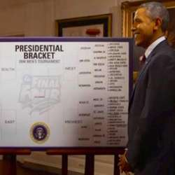 President Obama filling out his 2014 NCAA bracket on ESPN.