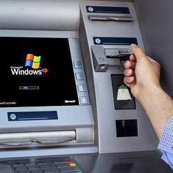 An ATM running Microsoft Windows XP, still the operating system of most ATMs.