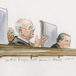 Supreme Court Justice Breyer announcing an opinion, illustration