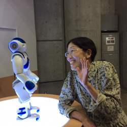 Author Mei Kobayashi and a Nao robot.